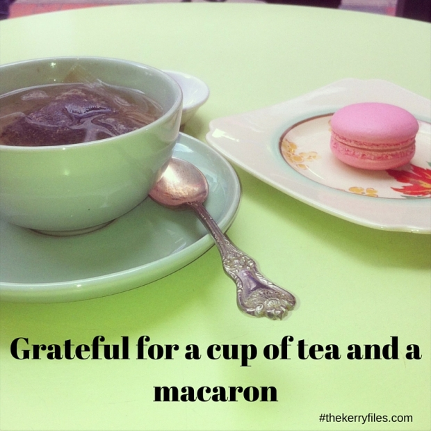 Grateful for a cup of tea and a macaron